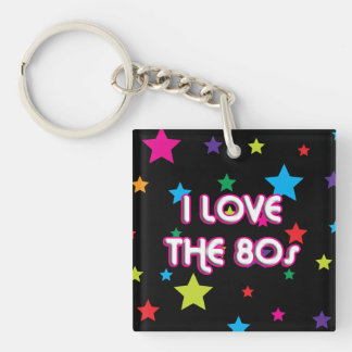Pop Culture Retro I love the 80s Single-Sided Square Acrylic Keychain
