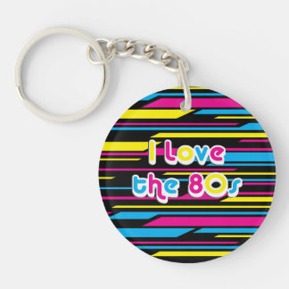 Pop Culture Retro I love the 80s Double-Sided Round Acrylic Keychain