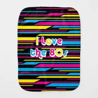 Pop Culture Retro I love the 80s Baby Burp Cloths