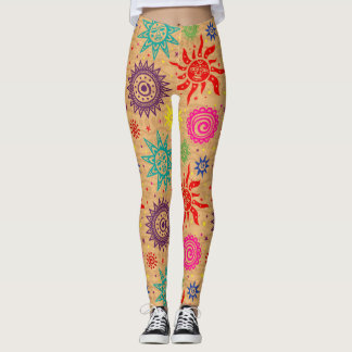 Pop Fashion Ethnic Sun Pattern Leggings