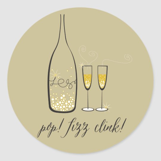 Pop Fizz Clink Champagne New Year Holiday Sticker