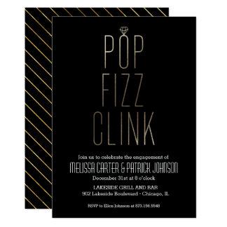 Pop Fizz Clink Engagement Party in Faux Foil Card