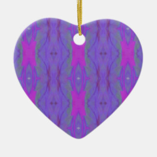 Pop Fluorescent Pink Lavender Chic Pattern Ceramic Heart Ornament