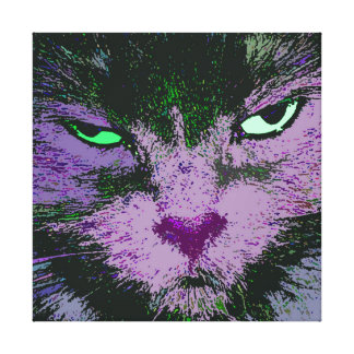 Pop Kitty Pink Wrapped Canvas Print