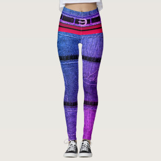Pop-star Rainbow Belted 3-Toned Denim Skinny Jeans Leggings