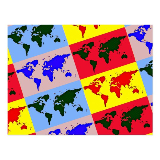 pop style world map postcard