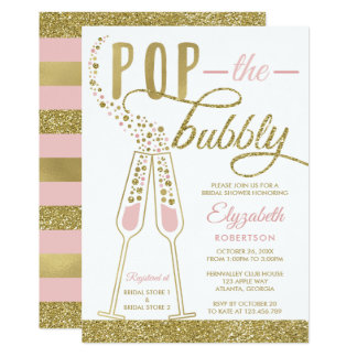 Pop The Bubbly Bridal Shower Invite, Faux Gold Card
