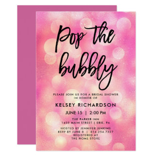 Pop the Bubbly | Pink Bokeh Look Bridal Shower Card
