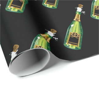 Pop the cork New Years Eve party tiled wrap Wrapping Paper