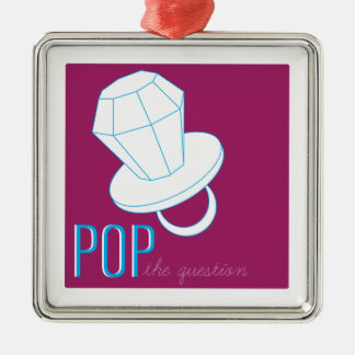 Pop The Question Silver-Colored Square Ornament