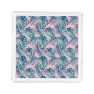 Pop Tropical Leaves Seamless Pattern Series 1 Acrylic Tray