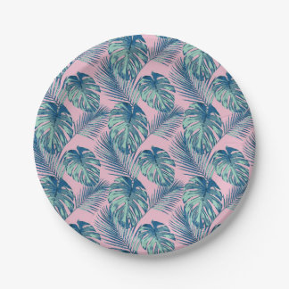 Pop Tropical Leaves Seamless Pattern Series 1 Paper Plate