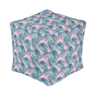 Pop Tropical Leaves Seamless Pattern Series 1 Pouf