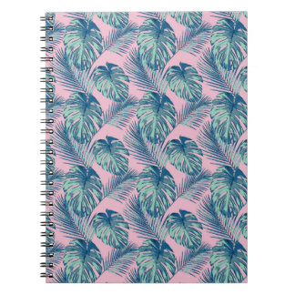 Pop Tropical Leaves Seamless Pattern Series 1 Spiral Notebook