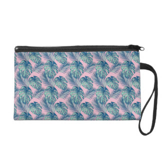 Pop Tropical Leaves Seamless Pattern Series 1 Wristlet