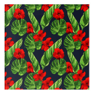 Pop Tropical Leaves Seamless Pattern Series 3 Acrylic Wall Art