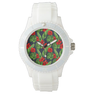Pop Tropical Leaves Seamless Pattern Series 3 Watch