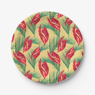 Pop Tropical Leaves Seamless Pattern Series 4 Paper Plate