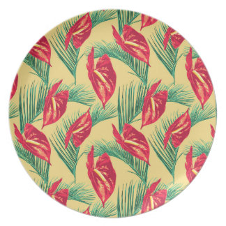 Pop Tropical Leaves Seamless Pattern Series 4 Plate