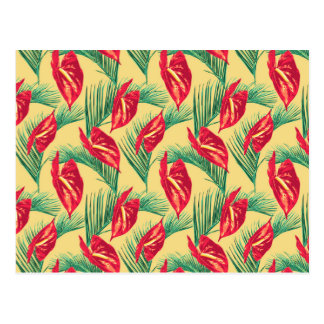 Pop Tropical Leaves Seamless Pattern Series 4 Postcard
