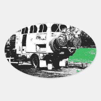 Pop Up RV on Green Oval Sticker