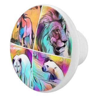 popArt Animal Collage Ceramic Knob