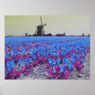Popart Blue Tulips Windmills Landscape Posters