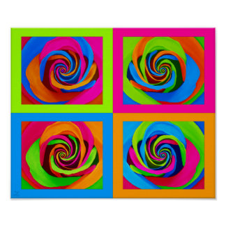 PopArt Rose Quad Grid Style Poster