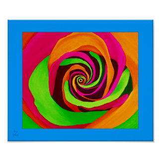 PopArt Rose with Blue Framing Poster