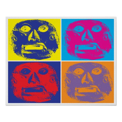 Popart style pre-Colombian mask Print