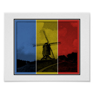 Popart windmill blue, yellow, red poster
