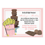 Popcorn and Chocolate Movie Sleepover Custom Announcement