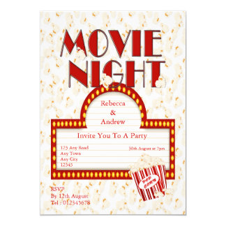Popcorn and Movie Party Card