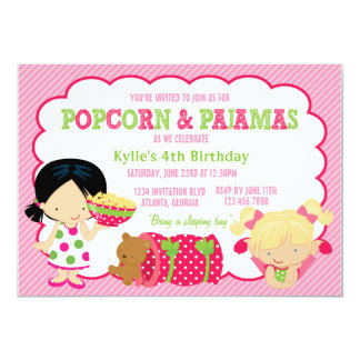 "Popcorn and Pajamas Sleepover Party 5"" X 7"" Invitation Card"