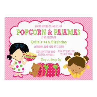Popcorn and Pajamas Sleepover Party Invite