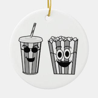 popcorn and soda ceramic ornament