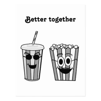 popcorn and soda postcard
