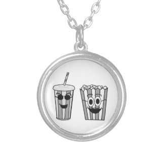 popcorn and soda silver plated necklace