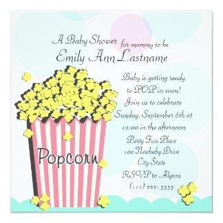 "Popcorn Baby Shower 5.25"" Square Invitation Card"