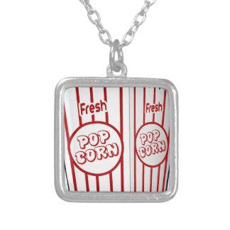 popcorn corn snack food movie night fun square pendant necklace