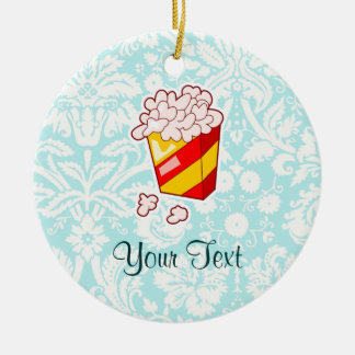 Popcorn; Cute Double-Sided Ceramic Round Christmas Ornament