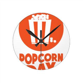 Popcorn Day - Appreciation Day Round Clock