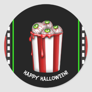 Popcorn Eyeball Halloween Fright Night Party Favor Classic Round Sticker
