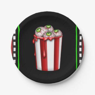 Popcorn Eyeball Halloween Fright Night Party Paper Plate