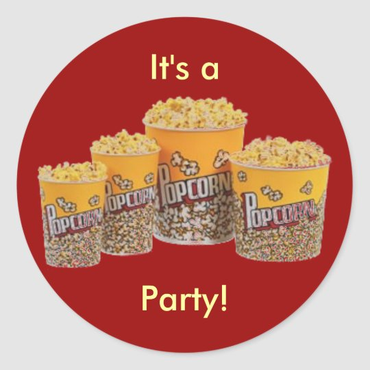 Popcorn party stickers