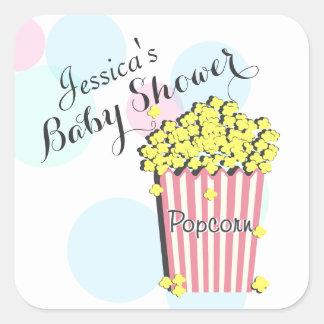 Popcorn Pink Baby Shower Square Sticker
