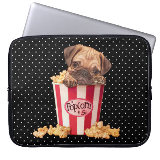 Popcorn Pug Laptop Sleeve