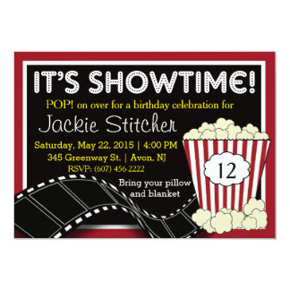 "Popcorn ""Showtime"" Invitation"