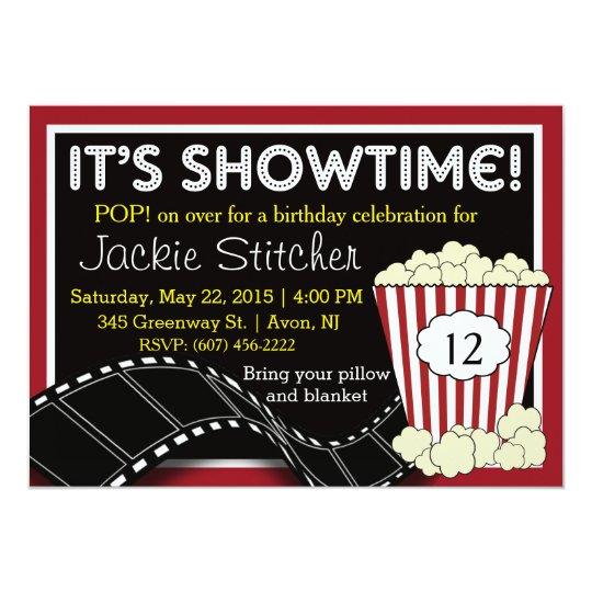 """Popcorn """"Showtime"""" Invitation"""
