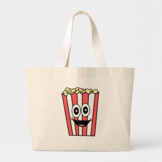 popcorn smiling large tote bag